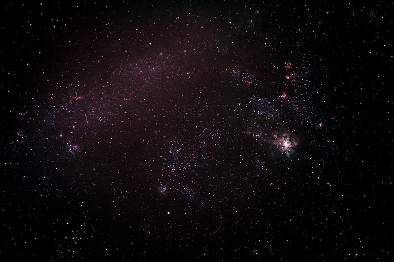 Caldwell 103 - NGC2070 - 30 Doradus - Tarantula Nebula in a wide field shot of its home The Large Magellanic Cloud - 30/10/2013 (Processed stack)