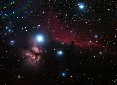 IC434 Horsehead Nebula and NGC2024 Flame Nebula near Star Alnitak - 10/11/2013 (Processed cropped stack)