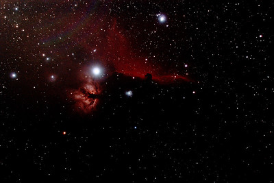 IC434 Horsehead Nebula and NGC2024 Flame Nebula near Star Alnitak - 3/1/2014 (Processed stack)