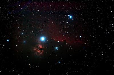 IC434 Horsehead Nebula and NGC2024 Flame Nebula near Star Alnitak - 29/10/2013 (Processed stack)