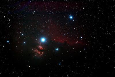 IC434 Horsehead Nebula and NGC2024 Flame Nebula near Star Alnitak - 29/10/2013 (Processed stack)