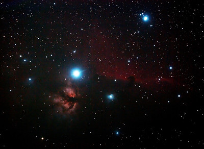 IC434 Horsehead Nebula and NGC2024 Flame Nebula near Star Alnitak - 29/10/2013 (Processed cropped stack)