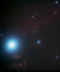IC434 Horsehead Nebula and NGC2024 Flame Nebula near Star Alnitak - 13/10/2013 (Processed cropped stack)