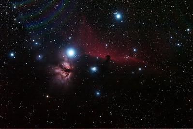 IC434 Horsehead Nebula and NGC2024 Flame Nebula near Star Alnitak - 10/11/2013 (Processed stack)