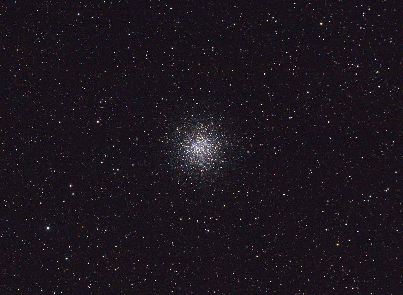 Messier M55 - NGC6809 - Sagittarius Globular Cluster - 26/8/2011 - Dark Sky site near Wagin (Processed cropped stack)<br />  <br /> DeepSkyStacker 3.3.2 Stacked 100% of 2 Images ISO 800, 300 Sec, 16 DARK, 37 BIAS, 37 FLATS, Post processed by Adobe Photoshop CS5<br />  <br /> Telescope - Apogee OrthoStar LOMO 80/480 with Hotech SCA Field Flattener, NO filter, Canon 400D DSLR, Ambient 5C. Mount - Skywatcher NEQ6 Pro. Guidescope - Orion ShortTube 80 with Star Shoot Auto Guider.