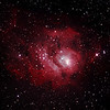 Messier M8 - NGC6523 & NGC6530 - Gum 72 - Lagoon Nebula and Cluster - 25/7/2012 (Processed cropped stack)