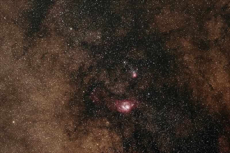 Sagittarius around M8, M20 nebulae - 19/4/21 (Processed stack)