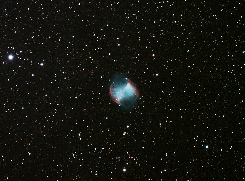 Messier M27 - NGC6853 Dumbbell Nebula - 28/5/2011 (Reprocessed cropped single image)<br />  <br /> Reprocessed in late 2012.<br /> <br /> DeepSkyStacker 3.3.2 Stacked 80% of 21 Images ISO 800 120 Sec, 32 DARK, 0 BIAS, 0 FLATS, Post-processed by Photoshop CS5<br />  <br /> Telescope - Apogee OrthoStar LOMO 80/480 with Hotech SCA Field Flattener, Hutech IDAS LPS-P2 filter, Canon 400D DSLR, Ambient 11C. Mount - Skywatcher NEQ6 Pro. Guidescope - Orion ShortTube 80 with Star Shoot Auto Guider