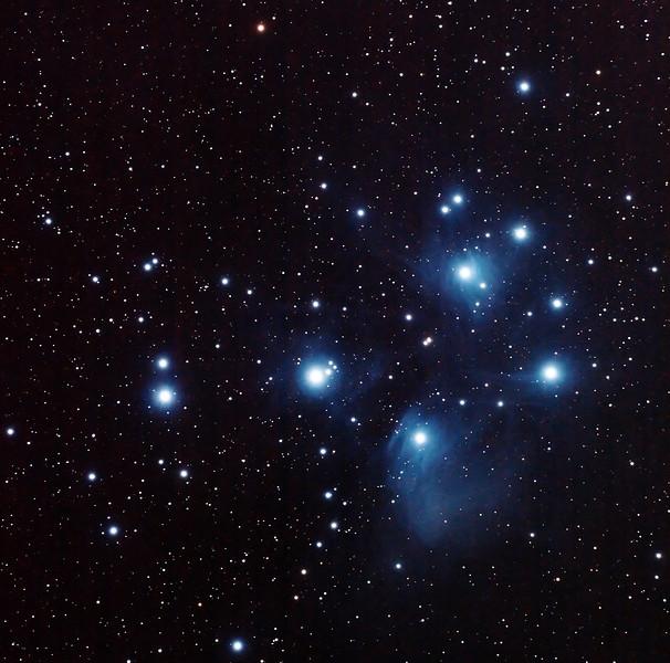 Messier M45 - Pleiades Seven Sisters Subaru Matariki - 10/11/2013 (Processed cropped stack)