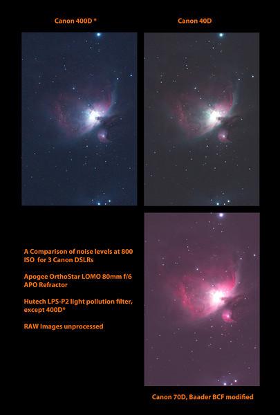 Comparison of 400D, 40D and AP modified 70D noise - Messier M42 - NGC1976 - Orion Nebula - 31/12/2013
