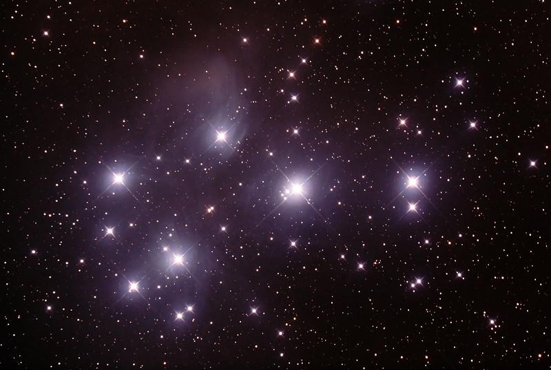 Messier M45 - Pleiades - Seven Sisters - Subaru - Matariki - 16/10/2015 (Processed cropped stack)