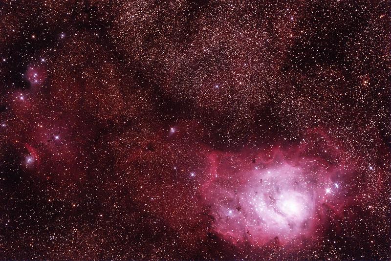 IC1274-5 Gum75 & NGC6429 Nebula with IC4685 Dark Nebula in Sagittarius (near M8 Lagoon Nebula) - 24/9/2014 (Processed single test image)