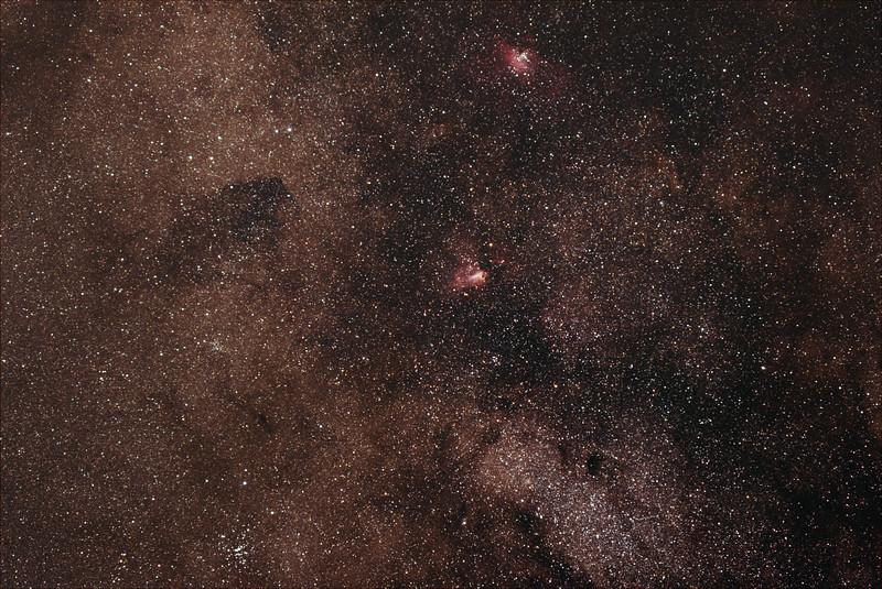 Sagittarius, Serpens Cauda, Scutum border around M16, M17 nebulae - 19/4/21 (Processed stack)