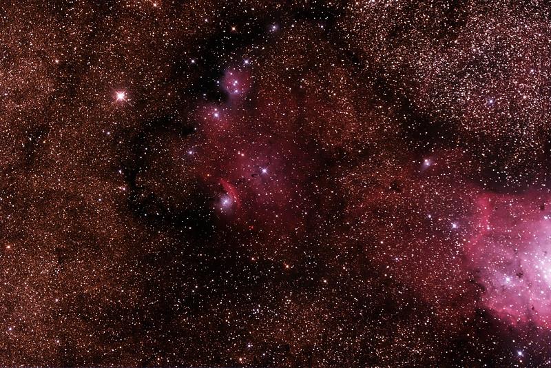 IC1274-5 Gum75 & NGC6429 Nebula with IC4685 Dark Nebula in Sagittarius (near M8 Lagoon Nebula) - 24/9/2014 (Processed stack)