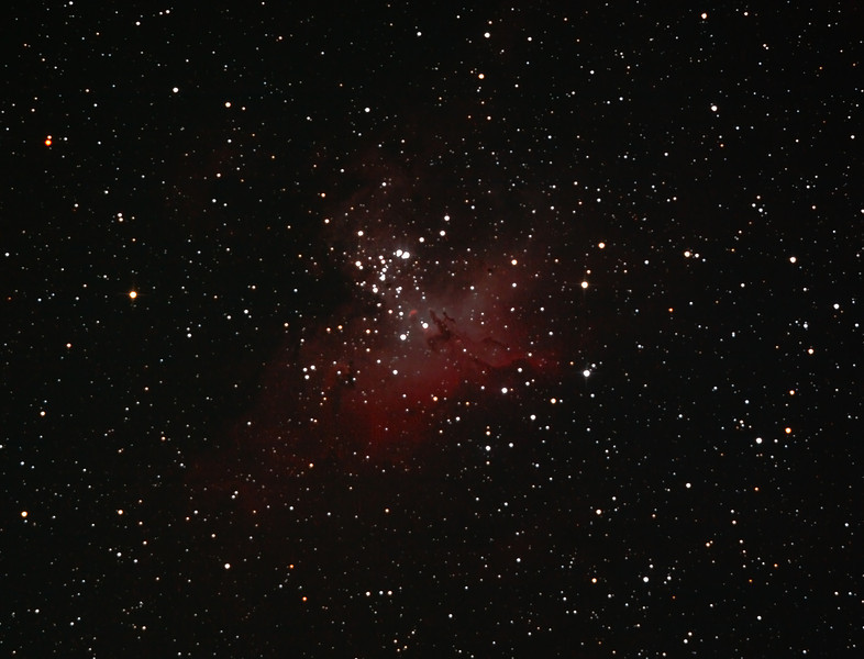 Messier M16 - NGC6611 - Gum 83 - Eagle Nebula and Cluster - 10/08/2012 (Processed cropped stack)