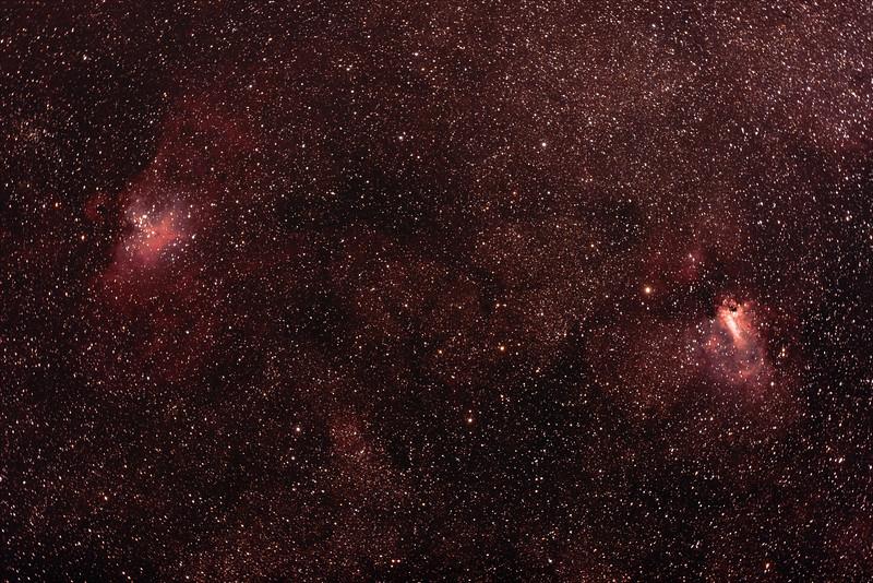 M16 NGC6611 Eagle Nebula and Cluster, M17 NGC6618 Eagle or Swan Nebula - 17/6/2017 (Processed Stack)