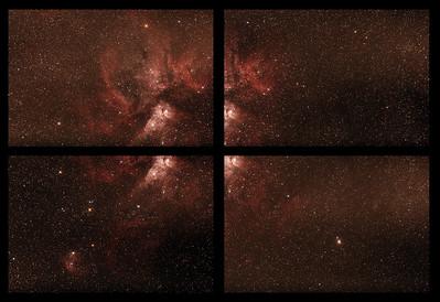 Caldwell 92 Eta Carinae Nebula - 24/2/2017 - Unmerged 4 panel mosaic test
