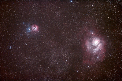 Messier M8 - NGC6523 - Lagoon Nebula and Cluster, Messier M20 - NGC6514 Trifid Nebula- 1/4/2011 (Processed stack)