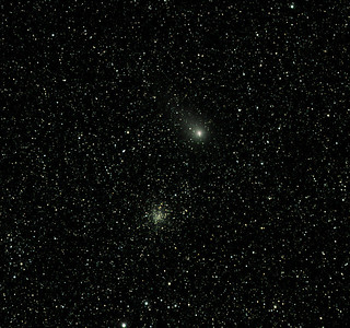 Comet Garradd C/2009 P1 - 15min trail, Messier M71 - NGC6838 Sagitta Globular Cluster - 26/8/2011 (Processed cropped stack)