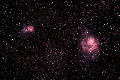 Messier M8 - NGC6523 - Lagoon Nebula and Cluster, M20 - NGC6514 - Trifid Nebula - 7/5/2011 (Processed stack)  DeepSkyStacker 3.3.2 Stacked 80% of 16 Images ISO 800 240 Sec, 20 DARK, 0 BIAS, 0 FLATS, Post processing by Adobe Photshop CS5  Telescope - Apogee OrthoStar LOMO 80/480 with Hotech SCA Field Flattener, NO filter, Canon 400D DSLR, Ambient 13C. Mount - Skywatcher NEQ6 Pro. Guidescope - Orion ShortTube 80 with Star Shoot Auto Guider.