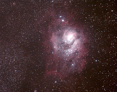 Messier M8 - NGC6523 - Lagoon Nebula and Cluster- 1/4/2011 (Processed Cropped stack)