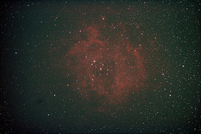 Caldwell 49 & 50 - NGC2237-9,NGC2244, 2246 - Rosette Nebula and Open Cluster 10/3/2011 (Processed stack)