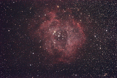 Caldwell 49 & 50 - NGC2237-9,NGC2244, 2246 - Rosette Nebula and Open Cluster - Dark Sky site near Wagin - 4/3/2011 (Processed stack)