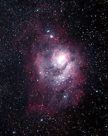 Messier M8 - NGC6523 - Gum 72 - Lagoon Nebula and Cluster- 1/4/2011 (Processed Cropped stack)