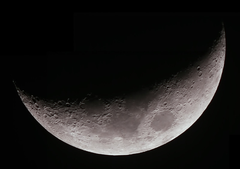 Crescent Moon - 23/5/2/015 (Processed mosaic of 3 images)