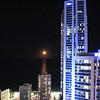 Moon rising near Hilton Hotel from Room 2355 Mantra Circle on Cavill