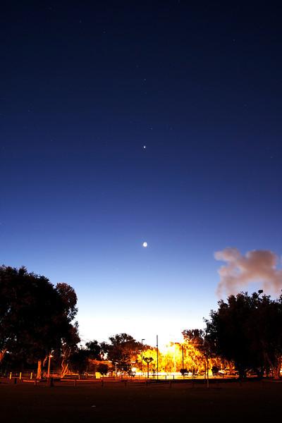 Lunar conjunction with Venus, Saturn, Mercury and Zubenelgenubi below Scorpius - 7/10/2013 (Processed image)