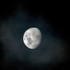 Waxing Gibbous Moon in the Clouds - 15/10/2013 (Processed image)