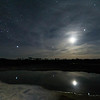 Moon, Jupiter, Procyon and Sirius reflected