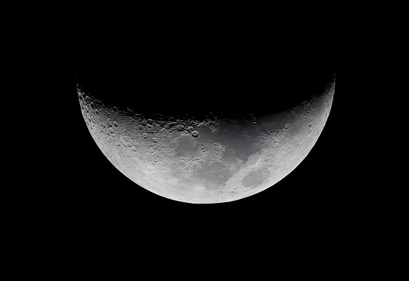 Waxing Crescent Moon - 10/10/2013 (Processed cropped  image)