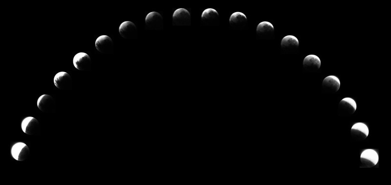 Lunar eclipse 24th March 1978 - Penumbral and Umbral stages.