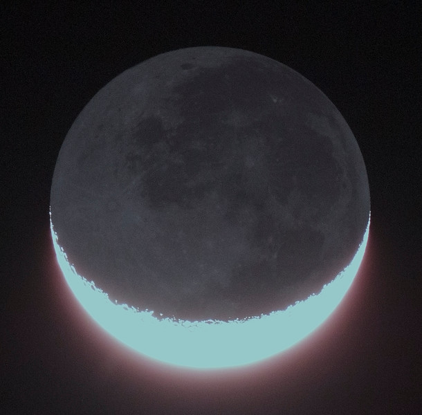 Moon with Earthshine - 27/10/2014 (Processed image)