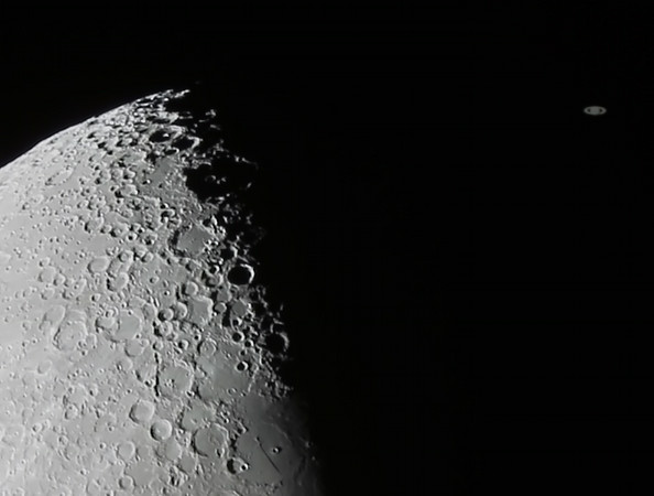 Occultation of Saturn by The Moon - 4/8/2014 18:12 (Processed cropped stack)
