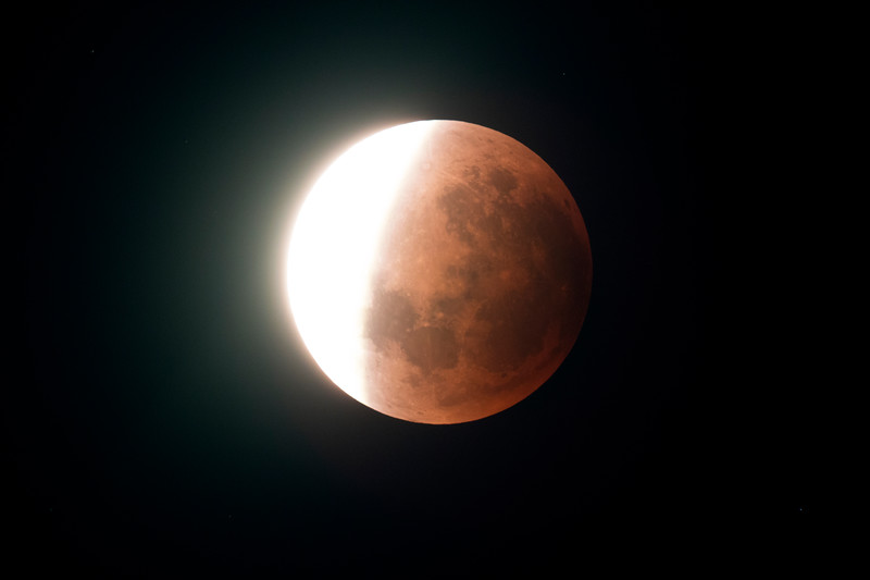 Super Blue Blood Moon - Umbral shadow ingressing - 31/1/2018