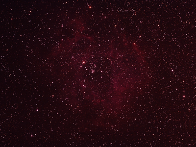 Caldwell 49 & Caldwell 50 - NGC2237-9,NGC2244, 2246 - Rosette Nebula and Open Cluster 18/5/2012 (Cropped and processed stack - Dark site)