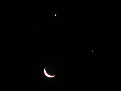 "3-Day old Moon with Venus (above) and Jupiter ""smiley face"" on 1st December 2008 (18th Wedding anniversary, something to smile about!)."