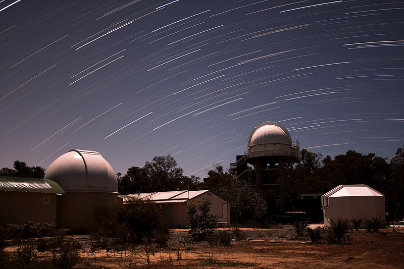 Perth Observatory Domes under Moonlight (~35 min trails)