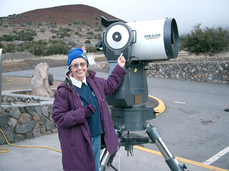 "The Star Lady volunteered at Mauna Kea for a number of winters, giving sky tours. <br /> Here, somewhat bedraggled and oxygen deprived, the Star Lady readys the big (16""??) Meade."