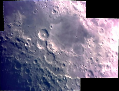 Moon mosaic 2/23/07 This is a final photo of four 10 sec avi's. Taken using a meade etx 125 a 0.5 focal reducer and a sac 7 ccd camera. Processed in registax 4 and cleaned up in photoshop 9.0 They were taken from my home in Washington Pa. at 4:30 pm on 2/23/07