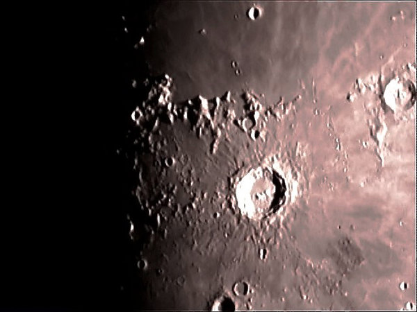 This photo of Mare Imbrium, Mare Isularum, crater Copericus, Eratosthenes and Montes Capatus was taken on 12/29/06 with a meade etx 125 and a sac 7 ccd.