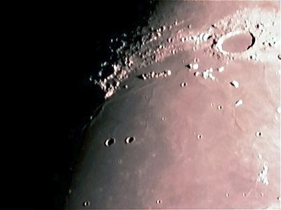 This photo of Mare Imbrium, Montes Recti and crater Plato was taken on 12/29/06with a meade etx 125 and a sac 7 ccd.