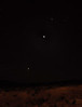 """Moon with Venus and Jupiter 8/12/12 just before sunrise. Taurus """"V"""" is also visible."""