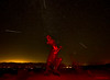 Spinosaurus dinosaur in Borrego with my collection of meteors stacked in one image