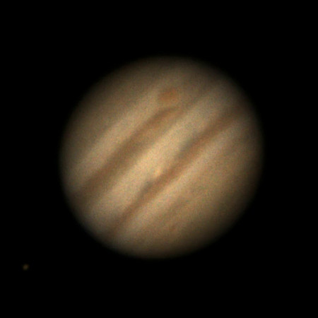 "Jupiter through 11"" telescope, Jan. 20, 2014."