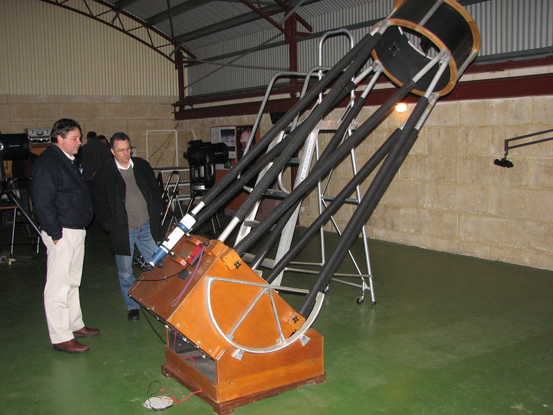 """Gingin observatory visit by the Perth Observatory volunteer group 19th June 2009.<br /> 25"""" Obsession Dobsonian"""