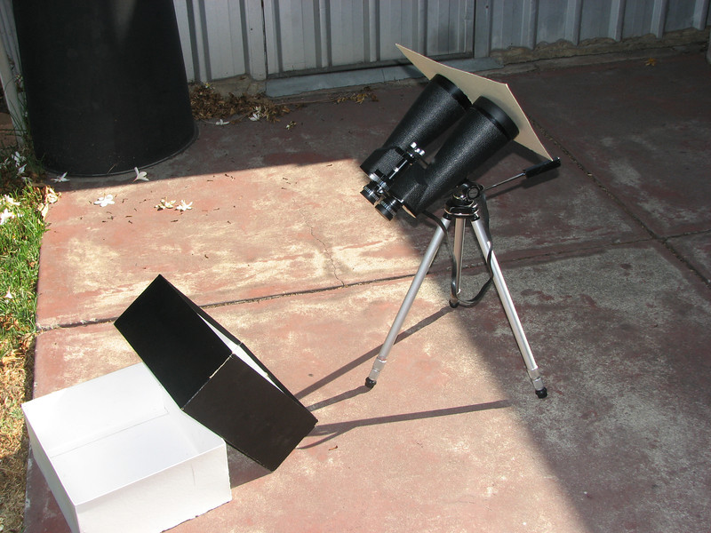 Binoculars setup for projection of the Australia Day 2009 Partial Solar Eclipse (26th January).